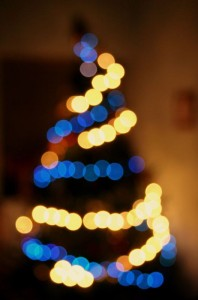 Image of a Christmas tree showing Bokeh